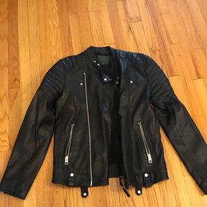 All Saints Mens Leather Motor Jacket Size Small
